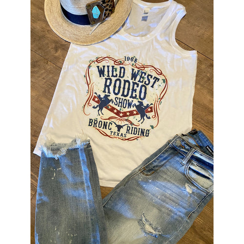 Wild West Rodeo on White RacerBack Tank