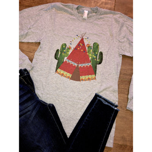 Tee Pee Cactus on Grey Long Sleeve (Fits True to Size)