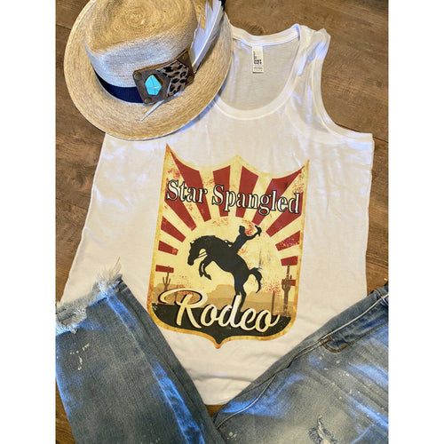 Star Spangled Rodeo on White RacerBack Tank