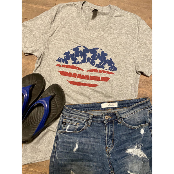 Patriotic Lips on Grey V-Neck (Fits True to Size)