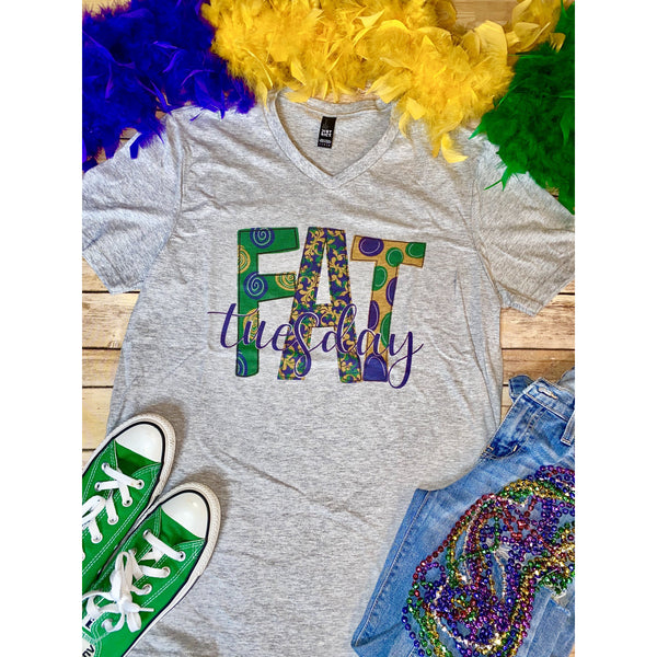 Fat Tuesday on Grey V-Neck (Fits True to Size)