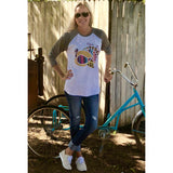 Give Thanks Turkey on Taupe Sleeve Raglan (Unisex Fit)