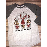 Love Gnome on Grey Raglan (Fits True to Size)
