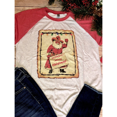 Howdy Merry Christmas on Red Raglan (Fits True to Size)