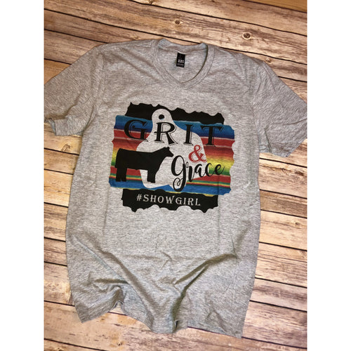 Grit & Grace Showgirl on Grey V-Neck (Fits True to Size)
