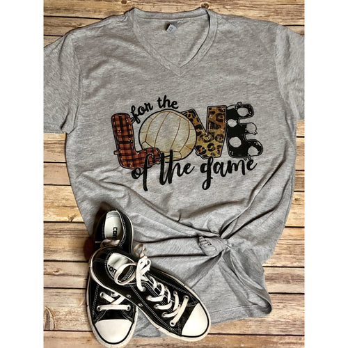 For the Love of the Game Volleyball on Grey V Neck (True to Size)