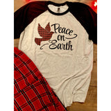 Plaid Peace on Earth on Black Raglan(Fits True to Size)