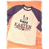 Leopard Happy Easter on Purple Raglan (Fits True to Size)