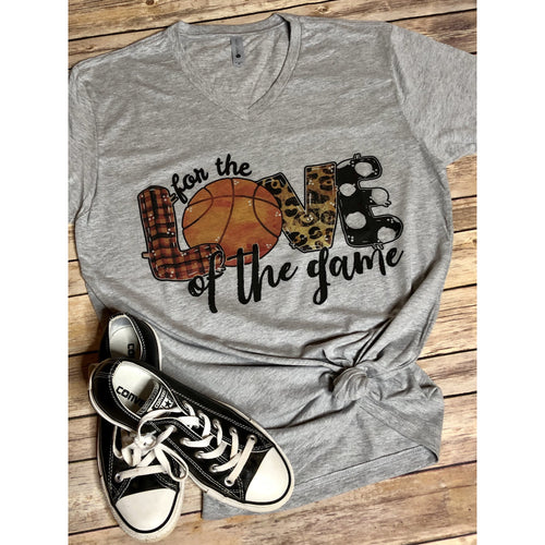For the Love of the Game Basketball on Grey V Neck (True to Size)