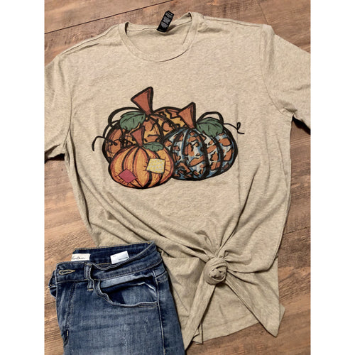 Leopard Pumpkins on Latte Crew Neck (Fits True to Size)