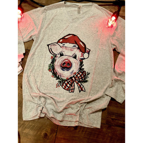 Santa Pig on Heather Long Sleeve (Fits True to Size)