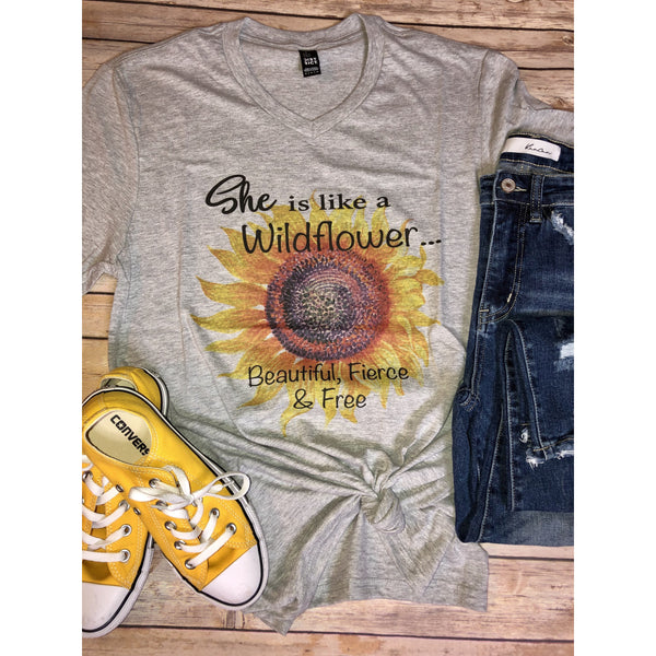 She is like a Wildflower on Grey VNeck (Fits True to Size)