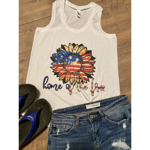 Home of the Free Sunflower on White Racer Back Tank Top (Fits True to Size)