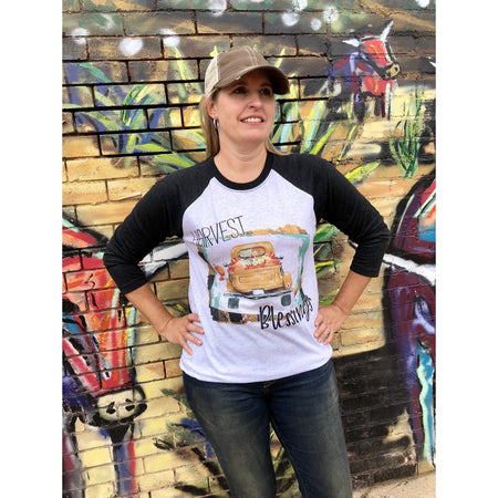 Happy Fall Stacked Pumpkin on Creme Crew Neck (Unisex Sizing)