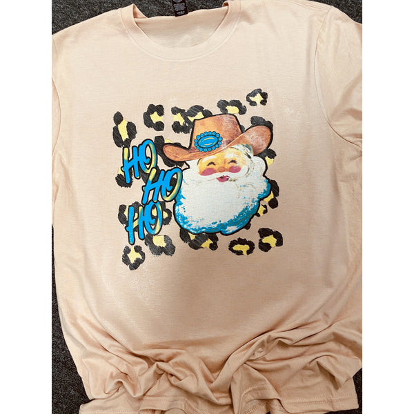 Turquoise Cowboy Santa on Peach Crewneck (Fits True To Size)