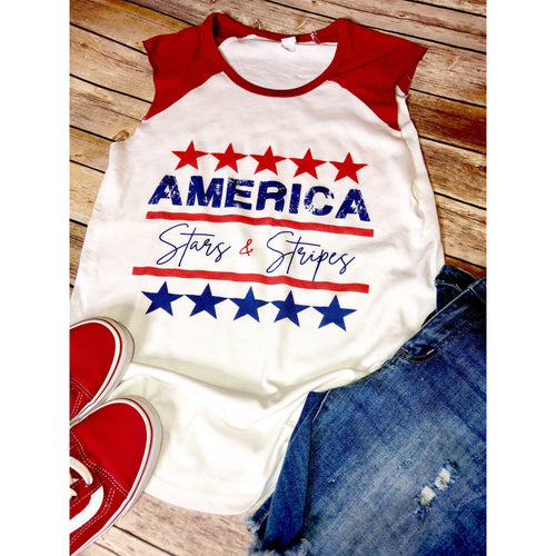America Stars & Stripes on Red Cap Sleeve Tee (Fits True to Size)