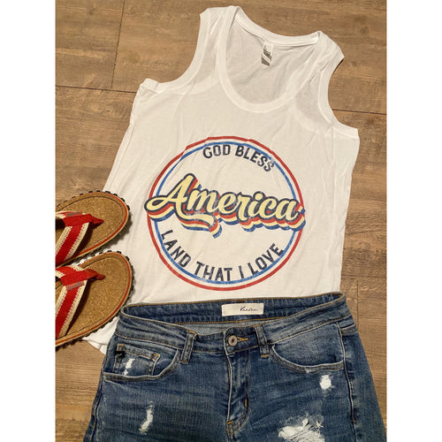 Retro God Bless America on White RacerBack Tank (Fits True to Size)