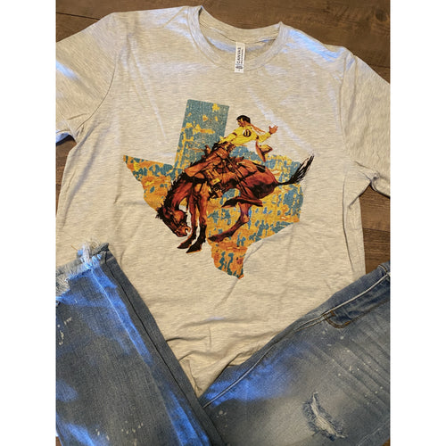 Bucking Bronc Texas on Oatmeal Crewneck (Fits True to Size)