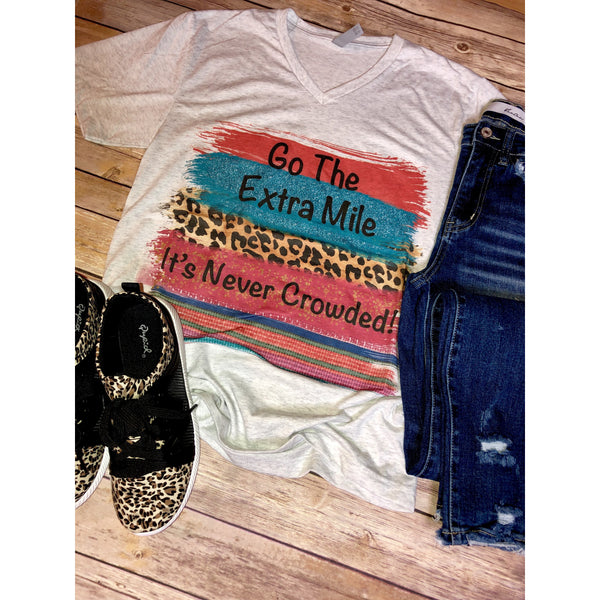 Go the Extra Mile on Heather White V-Neck (Fits True to Size)