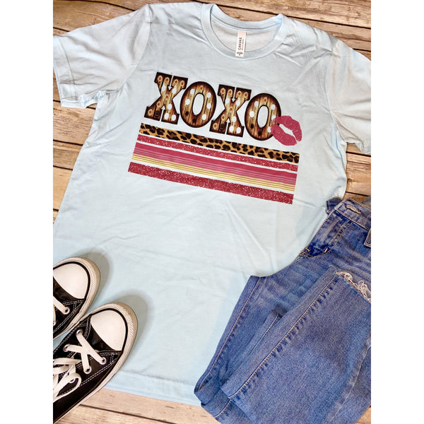 Pink XOXO on Ice Blue Crew Neck (Fits True to Size)