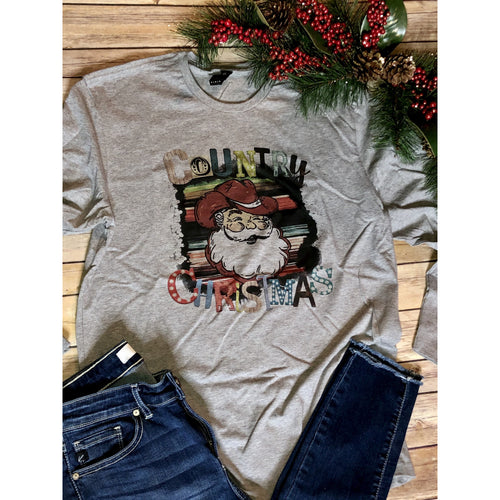 Country Christmas on Grey Long Sleeve (Fits True to Size)