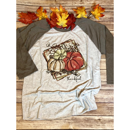 Thankful Turkey on Taupe Raglan (Unisex Sizing)