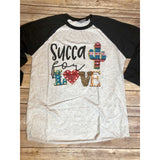 Succa for Love on Black Raglan (Fits True to Size)