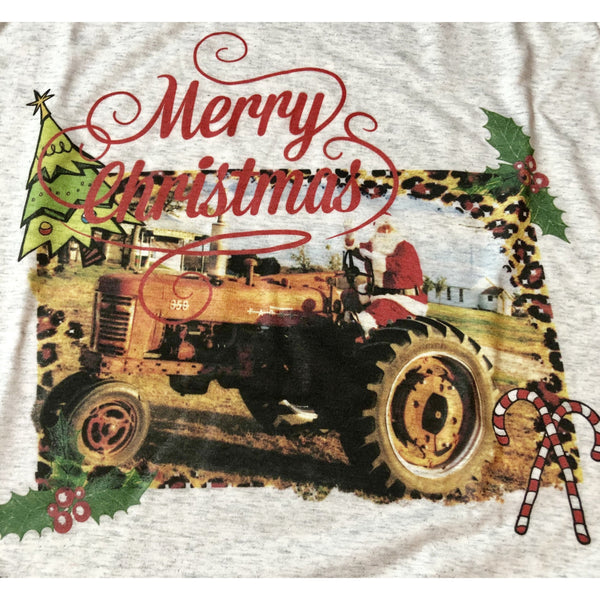 Farmer Christmas on Heather White Long Sleeve (Fits True to Size)