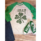 Lucky Clover on Green Raglan (Fits True to Size)
