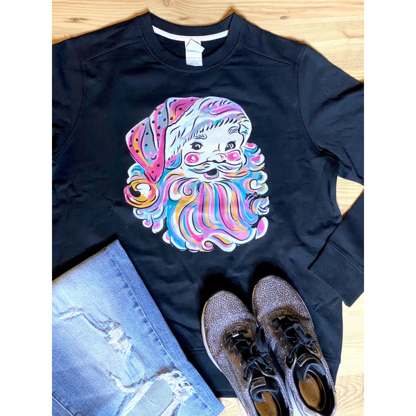 Pastel Santa on Black Sweatshirt (Fits True to Size)