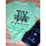 Texas Native on Mint Crew Neck (Fits True to Size)