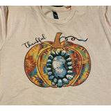 Aztec Pumpkin in Peach Crewneck (Fits True to Size) **Stone is Printed on tshirt**