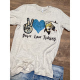 Peace Love Fishing on Oatmeal Crewneck (Fits True to Size)
