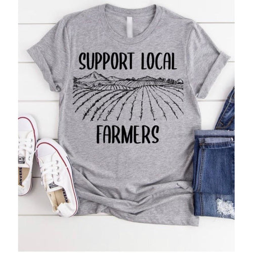 Support Local Farmers on Grey Crewneck (Fits True to Size)