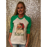 Believe Santa on Green Raglan (Unisex Fit)
