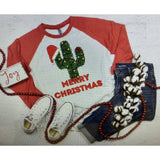 Christmas Cactus on Red Raglan (Fits True to Size)