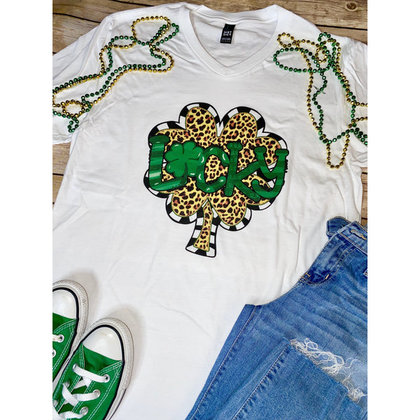 Lucky Clover Leopard on White V- Neck (Fits True to Size)