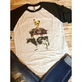 Cluck Oink Moo on Black Raglan (Unisex Fit)