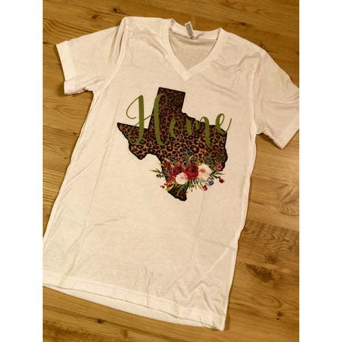 Green Leopard Texas on White V-Neck (Fits True to Size)
