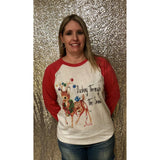 Dashing Through The Snow on Red Raglan (Unisex Fit)
