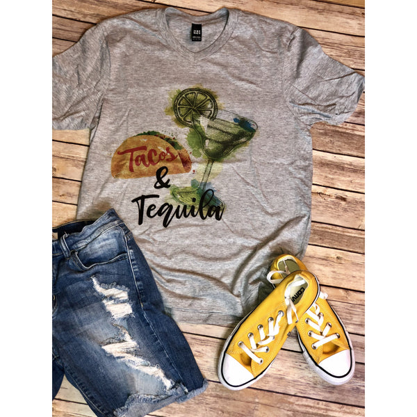 Tacos & Tequila on Grey V-Neck (Fits True to Size)