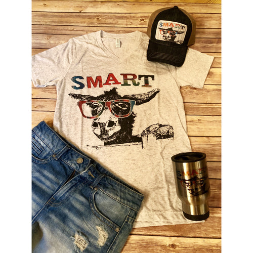 SmartAss On Heather White V-Neck (Fits True to Size)