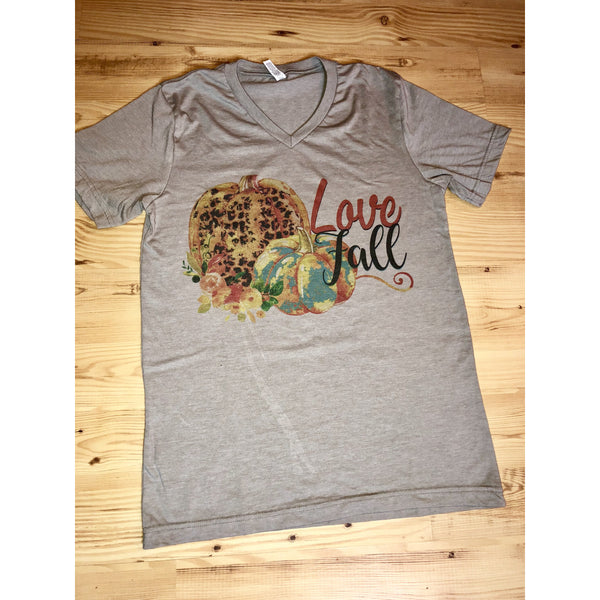 Love Fall on Taupe V-Neck (Unisex Fit)