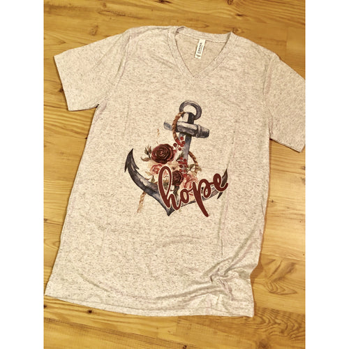 Hope Anchor on Heather White V-Neck (Fits True to Size)