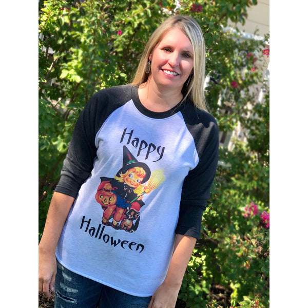 Happy Halloween Vintage Witch on Black Raglan (Unisex Fit)