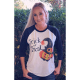 Trick or Treat Pumpkin on Black Raglan (UnisexFit)