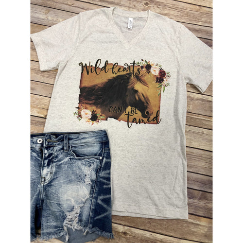 Wild Hearts Can't be Tamed on Oatmeal V-Neck (Fits True to Size)