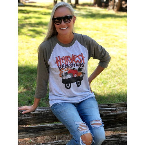 Harvest Blessings Wagon on Taupe Raglan (Fits True to Size)