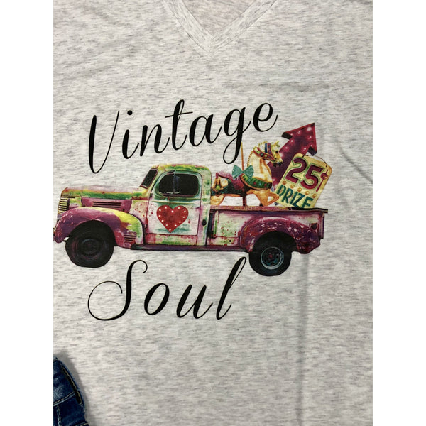 Vintage Soul on Heather V-Neck (Unisex Fits True to Size)