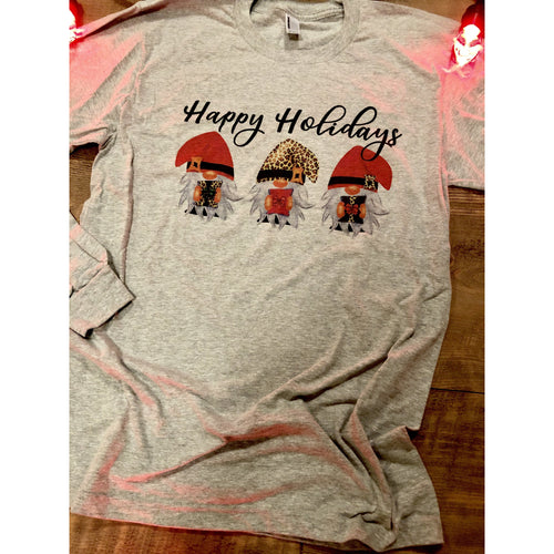 Happy Holidays Gnome on Grey Long Sleeve